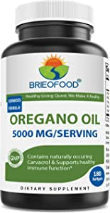 Brieofood Oregano Oil 5000mg/Serving - Contains Naturally Occuring Carvacrol - Healthy Immune Function - 180 Softgels