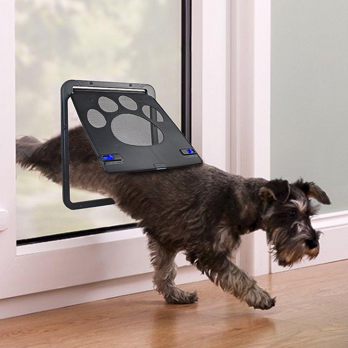 PETLESO Dog Door Screen - Lockable Pet Door for Screen Pet Door for Small to Large Dogs Cats - Large (Inside - 8.25''×10.5'')