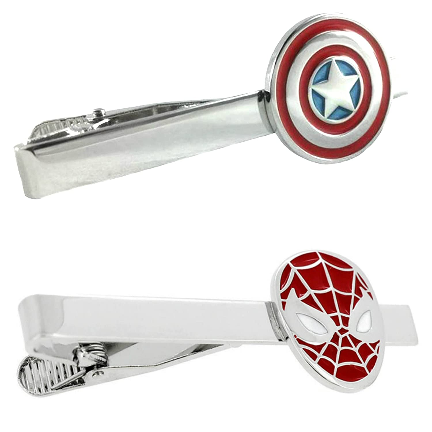 Outlander Marvel Comics - Captain America & Spiderman - Tiebar Tie Clasp Set of 2 Wedding Superhero Logo w/Gift Box Outlander Brand