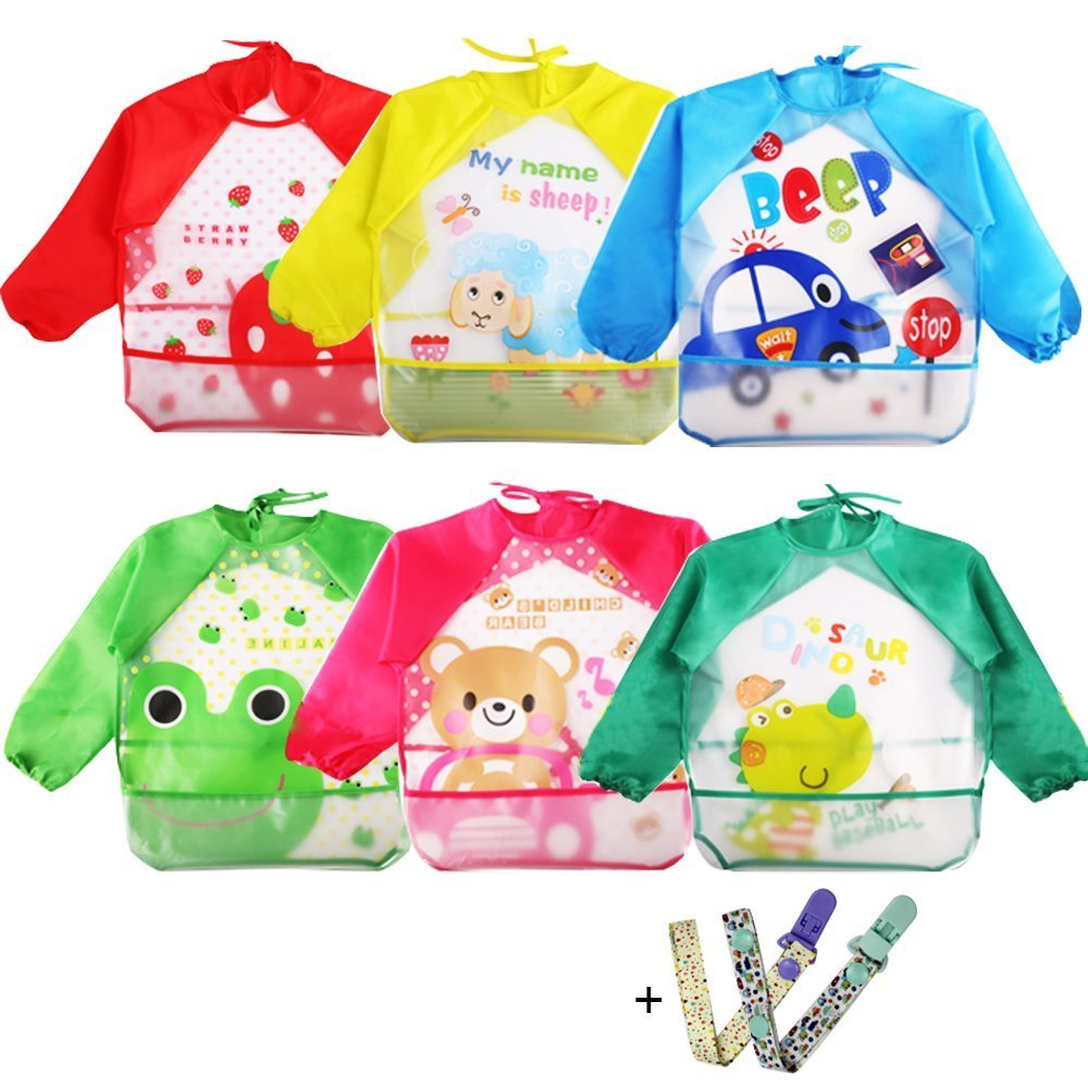 Coceca 6 Pcs Toddler Smock Baby Bibs Kids Art SmocksLong Sleeve Bibs for 1-3 Years Old Infants