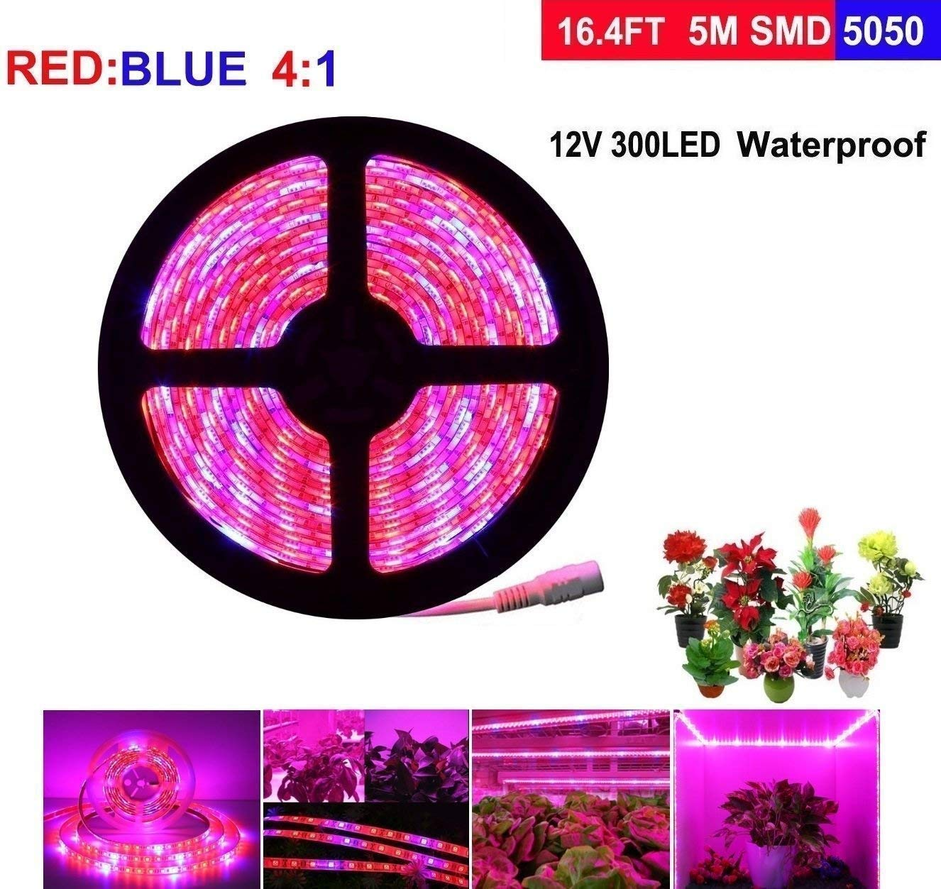 LEHOU LED Plant Grow Light, 5M/16.4ft LED Strip Lights, Waterproof Full Spectrum Red Blue 4:1 Rope Lights for Aquarium Greenhouse Hydroponic Plant, Garden Flowers Veg Grow Lights