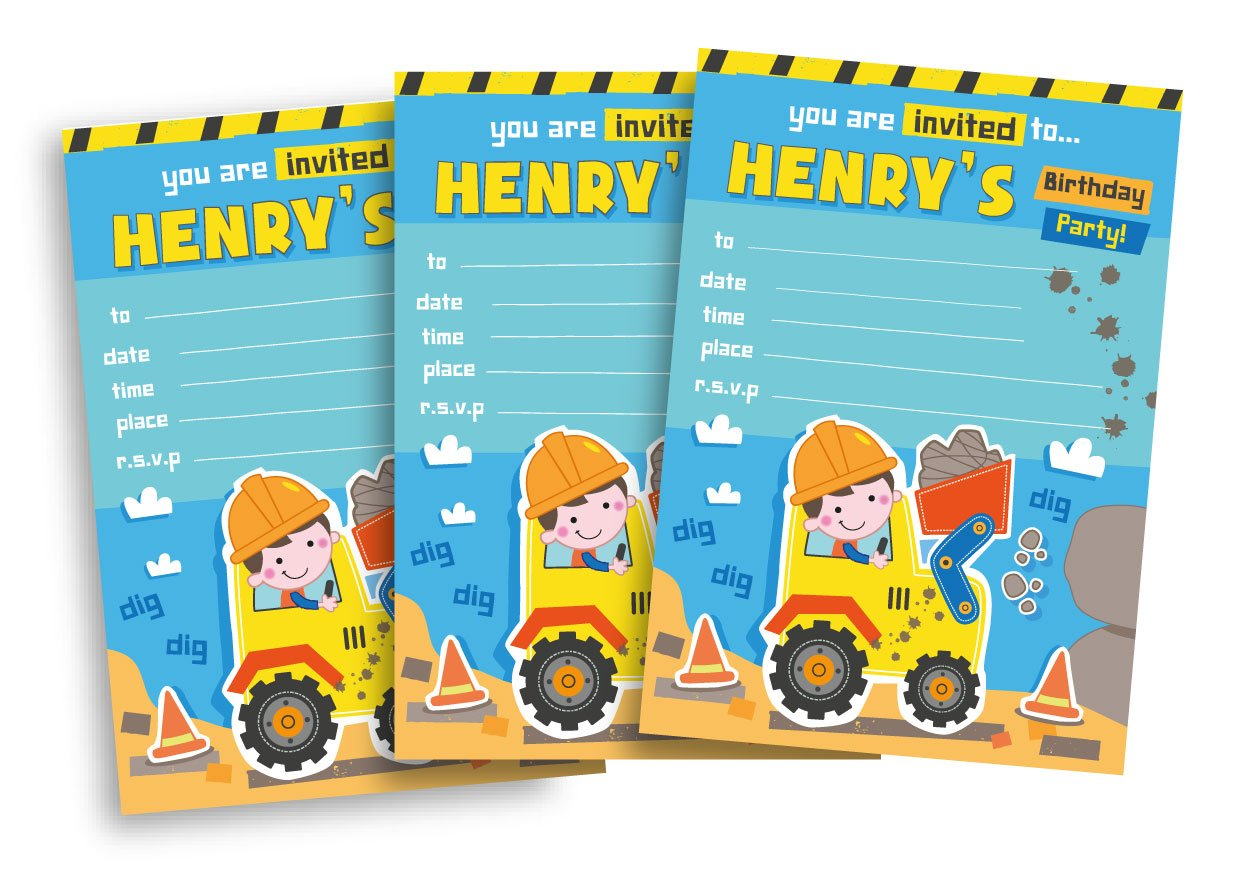 20 Childrens Personalised Birthday Party Invitations Digger Blue – Digger Party Invitations