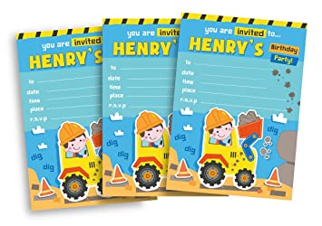 20 children s personalised birthday party invitations digger blue