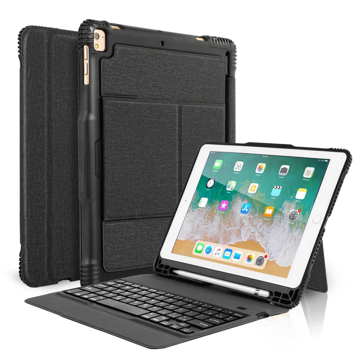 CoastaCloud New 2018 iPad 9.7 Keyboard Case with Pencil Holder, Detachable Bluetooth Keyboard with Shockproof Heavy Duty Full-Body Protective Case for iPad 9.7 2018/2017 / iPad Pro 9.7 / iPad Air