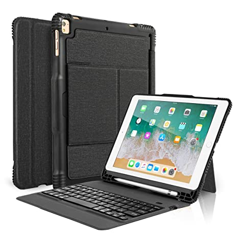 online store 32c53 6d1e1 CoastaCloud New 2018 iPad 9.7 Keyboard Case with Pencil Holder, Detachable  Bluetooth Keyboard with Shockproof Heavy Duty Full-body Protective Case for  ...