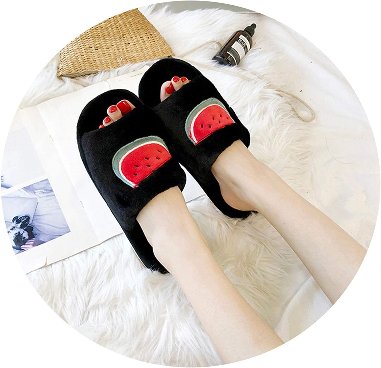 Womens Shoes 2019 Novelty Flock Home Slippers Casual Slip-Resistant Sneakers Womens Shoes,Negro,37,U.S