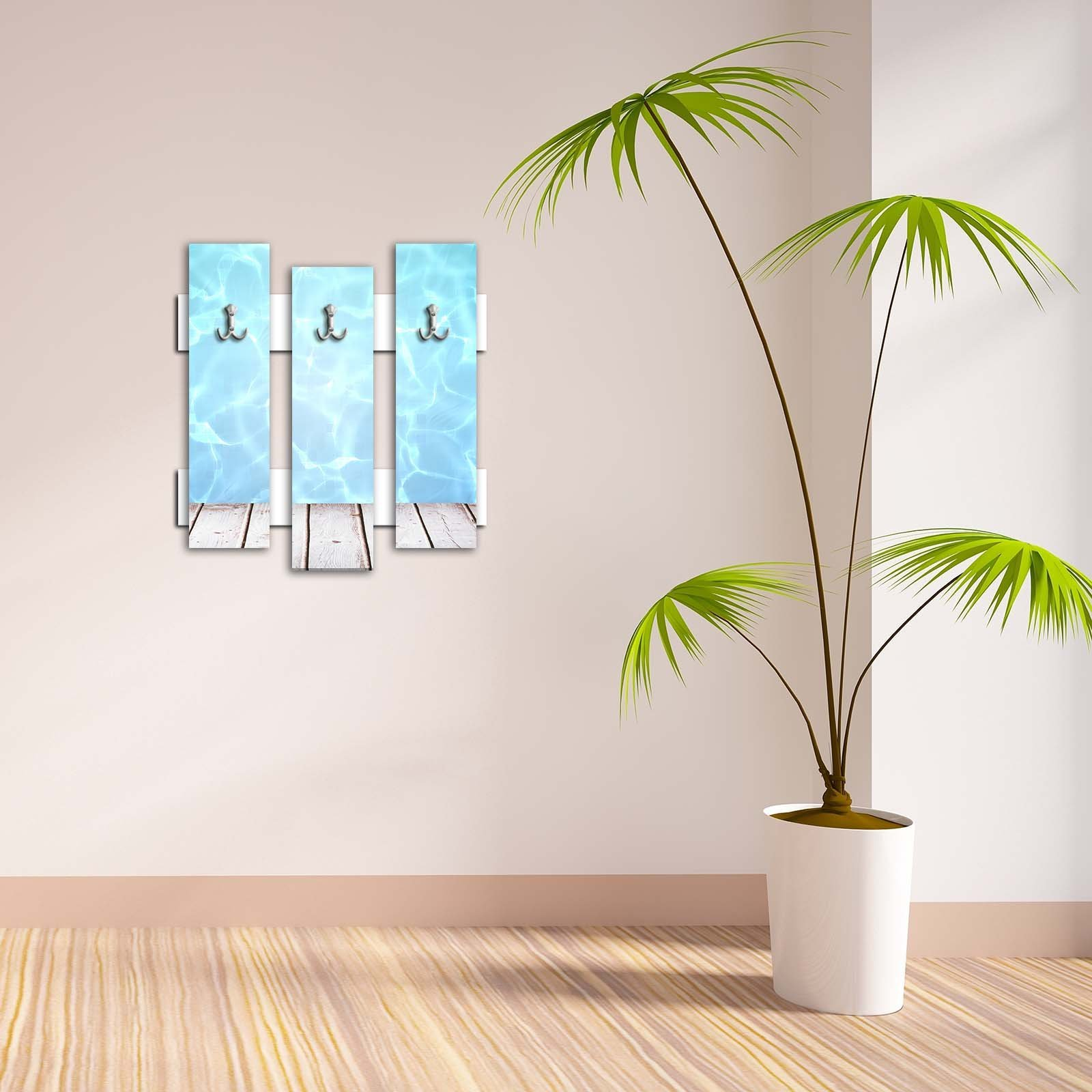 Decorative Wall Hook 3 Pcs Metal Key Holder 100% MDF Mounted Hanging Home Decor, Perfect for Foyers Entryway, Door Coats Hats Towels Scarfs Bags Pier Sea Water Holiday Seaside Wave Design Blue