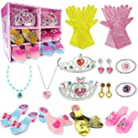 WTOR 24Pcs Princess Dress Up Shoes Toy 4 Girl Plastic Shoes and Jewelry Accessories Role Play Collection Shoe Set Gift…