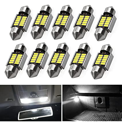 10Pcs 12SMD 4014 31mm LED Lights Dome Festoon Canbus Internal Plate Lamp White