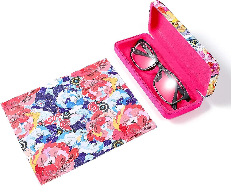 Molshine Microfiber Printing Fabrics Hard Shell Portable Floral Eyeglass Glasses Case for Reading Glasses and Sunglasses