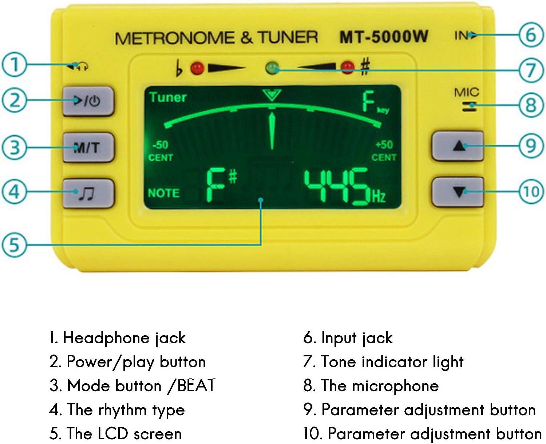 Afinador de Metr/óNomo de Instrumento Port/áTil para Guitarra Piano Saxof/óN Amarillo Nrpfell Afinador de Metr/óNomo Digital 3 en 1 Trompeta Flauta