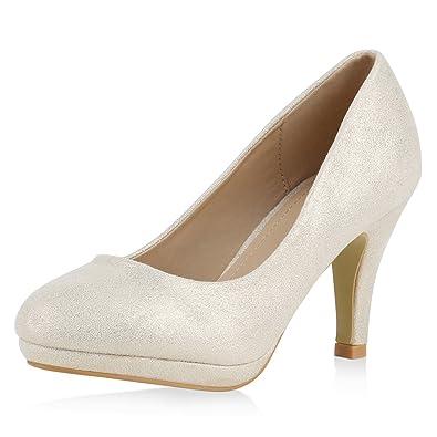 napoli fashion Damen Pumps High Heels Stiletto Party Schuhe Metallic Abendschuhe Glitzer Pailletten Lack Absatzschuhe Abiball Jennika