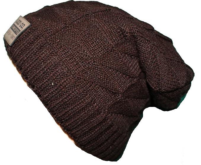9295b5fc060 Zacharias Men s Winter Knitted Woolen Cap with Warm Fur (Brown ...