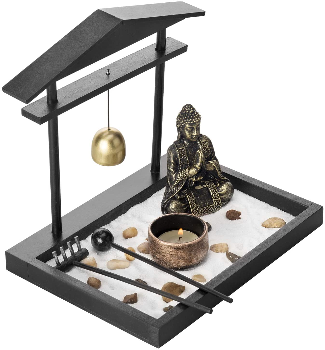 MyGift Mini Zen Sand Garden Set with Buddha Statue, Bell, Rake, Candle Holder & Tray