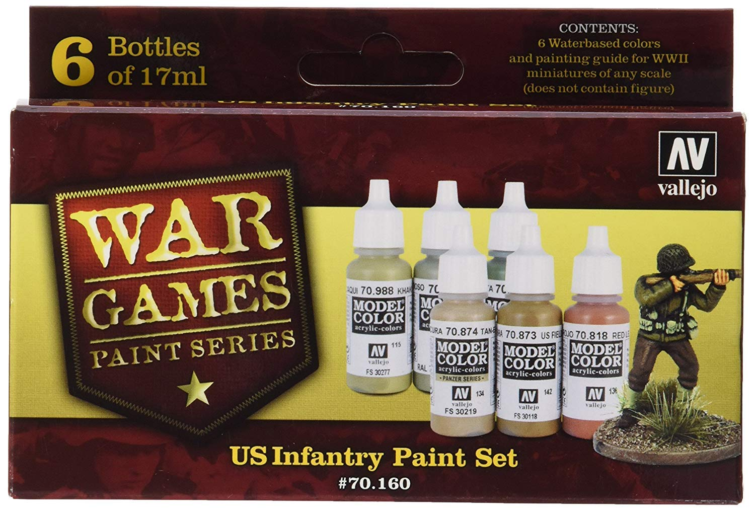 Vallejo Model Color WWII Wargames US Paint (Pack of 6)