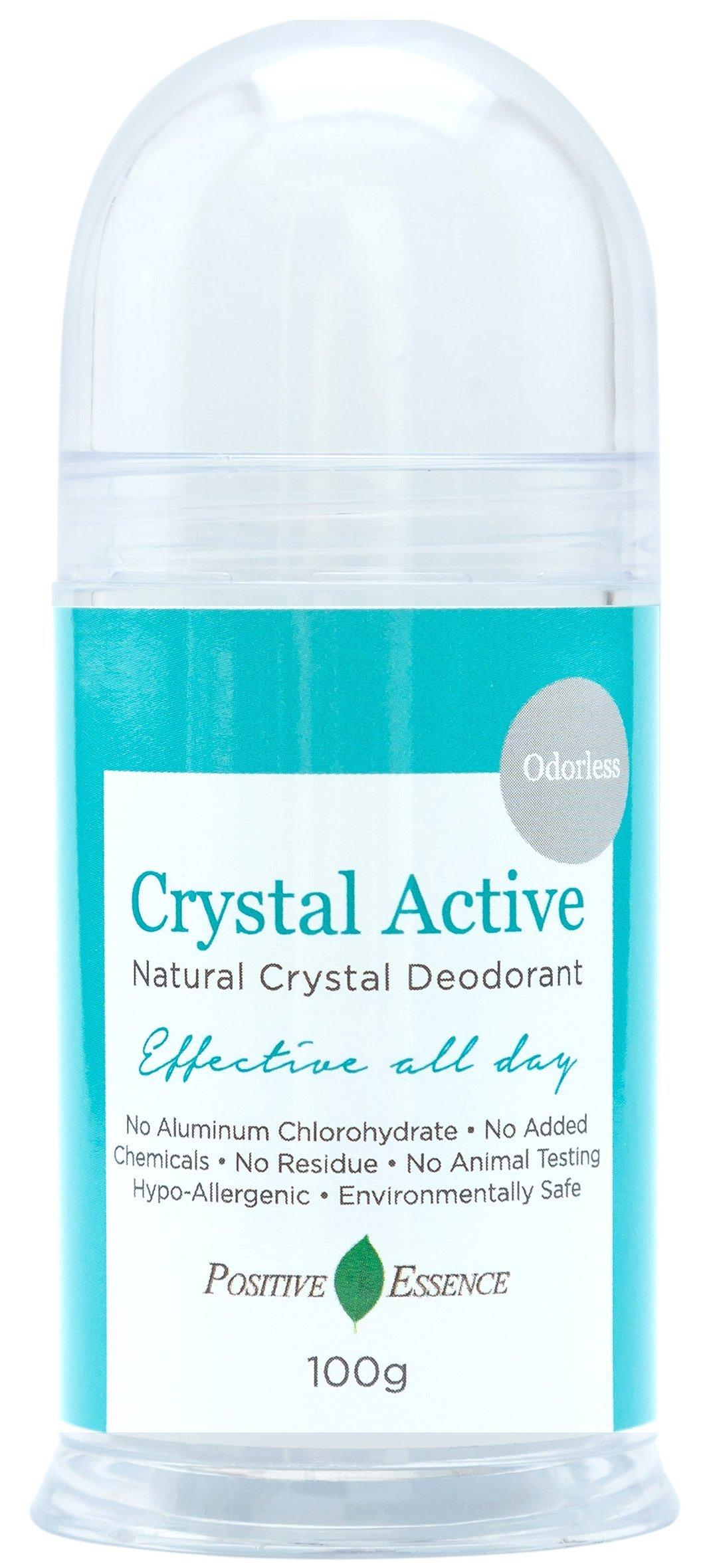 Crystal Deodorant Stone - Crystal Active - 100% NATURAL, LONG LASTING, Single Ingredient, No Aluminum Chlorohydrate or Chemicals - Unscented/Odorless, Pushup Stick, Thai Rock for Men and Women, 100g