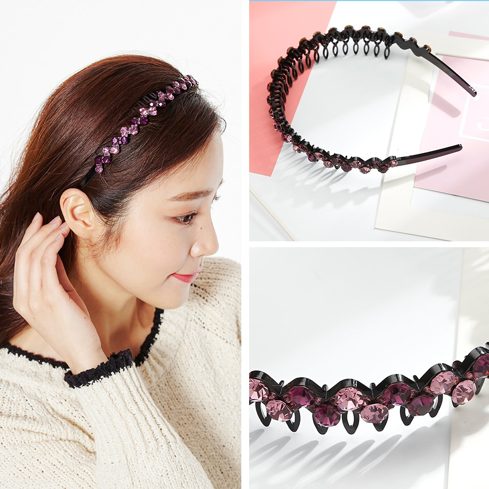 Amazon.com  CHIMERA Hair Hoop Fashion Crystal Headband Durable Acrylic  Teeth Comb Hairband for Women Purple  Beauty 349b53e3e7e