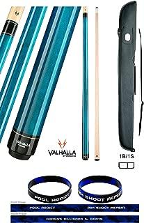 product image for Valhalla by Viking VA103 Blue 2 Piece Pool Cue Stick No Wrap 18-21 oz. Plus Cue Case & Bracelet (Blue VA103, 21)