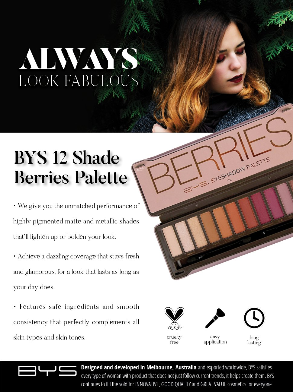 BYS Berries Eyeshadow Palette Tin with Mirror Applicator 12 Matte & Metallic Shades by BYS (Image #2)