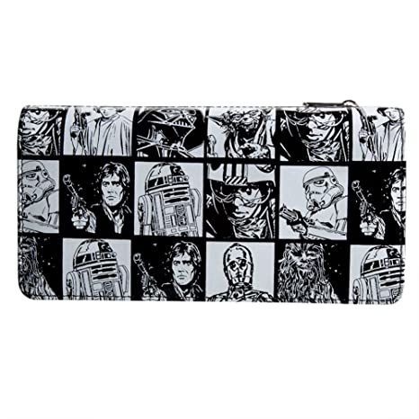 star wars black and white characters checkbook wallet amazon in