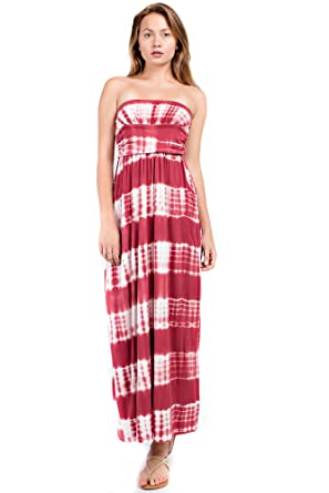 66270c65df2 Betsy Red Couture Women s Ruched Strapless Soft Knit Maxi Dress (S-3X) (