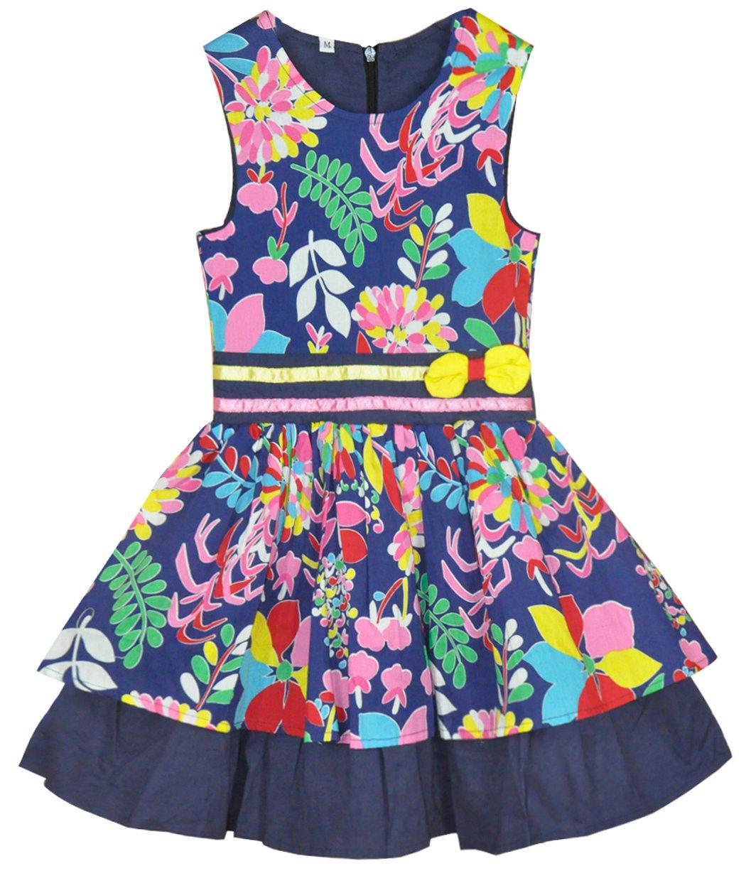 Dhasiue Little Girls Sleeveless Dresses Cotton Casual Summer Sundress Flower Printed Dress