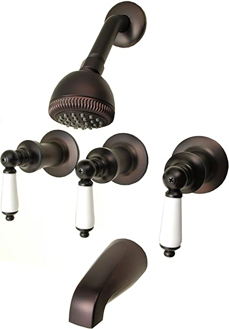 3-handle Tub /& Shower Faucet Oil Rubbed Bronze Finish Porcelain Handle Compre...