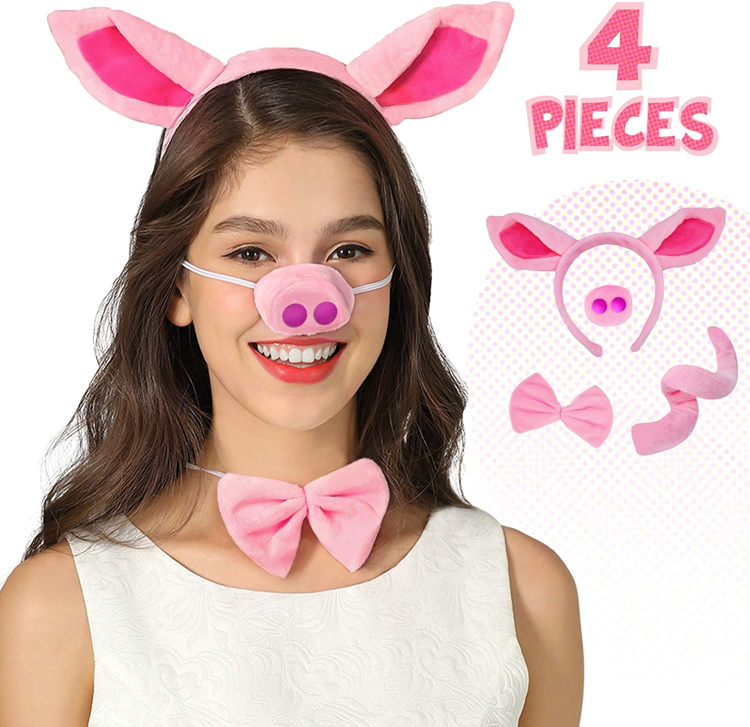 Bunny Costume Animal Costume Set Animal Ears Nose Tail and Bow Tie Animal Fancy Dress Costume Kit Accessories for Kids