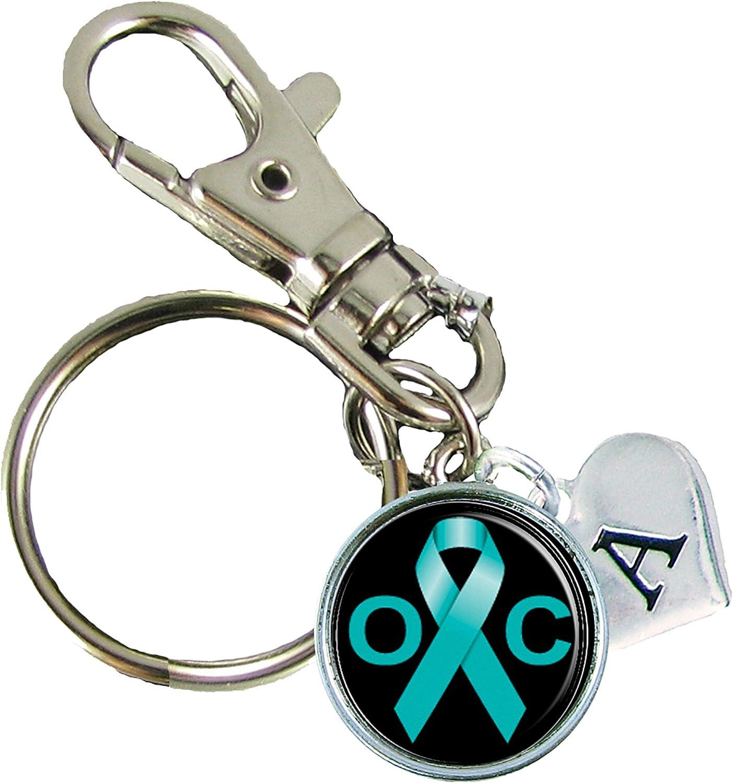 Amazon Com Holly Road Custom Ovarian Cancer Awareness Ribbon Silver Key Chain Initial Charm Clothing