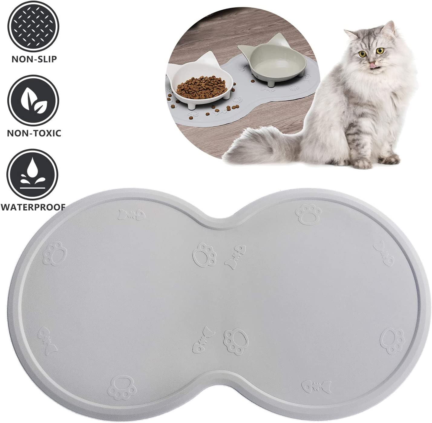 Upgrade Cat Food Mat, Cat Mat for 2 Bowls, Grade Silicone Dog Food Mat Dog Mat for Dog Bowl Cat Mat for 2 Bowls Cat Feeding Mat Dog Mat for Dog Bowl Non Slip Pet Food Mat