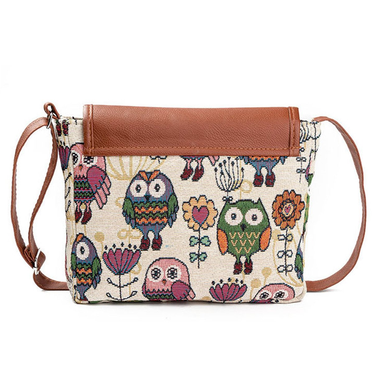 cb61e14a68 Amazon.com  Lady Canvas Cartoon Owl Printed Crossbody Shoulder Bags ...