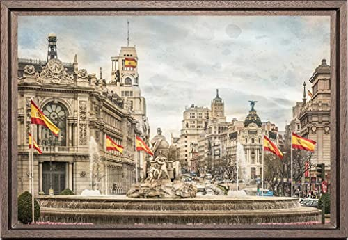 Cuadro enmarcado - Cuadro de la Fuente de la Diosa Cibeles en Madrid - Fotografía artística y moderna de alta calidad - Listo para colgar - Hecho a mano en España (20_x_30_cm): Amazon.es: Handmade