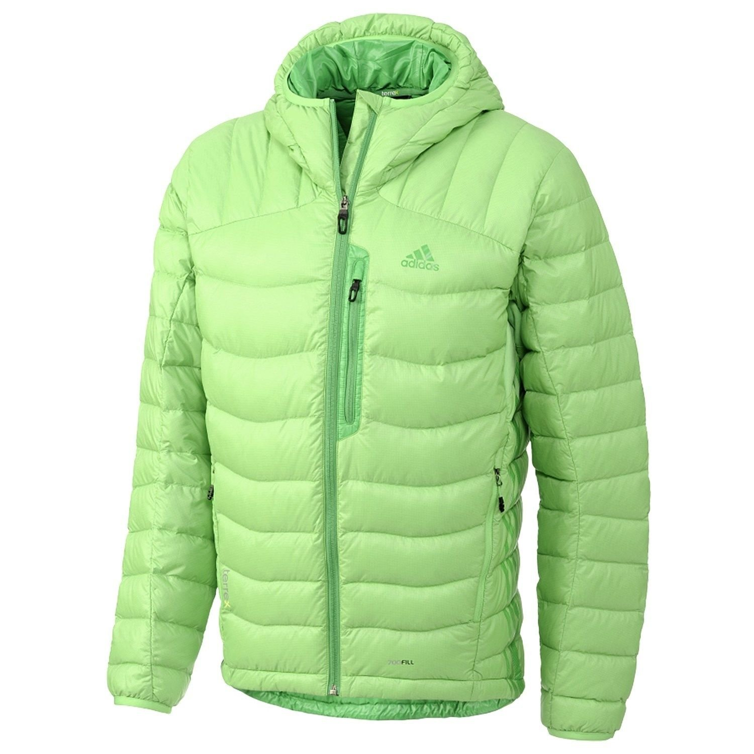 Mens Adidas Quilted Jacket Coat Green Winter Warm Water-resistant Zip Lined