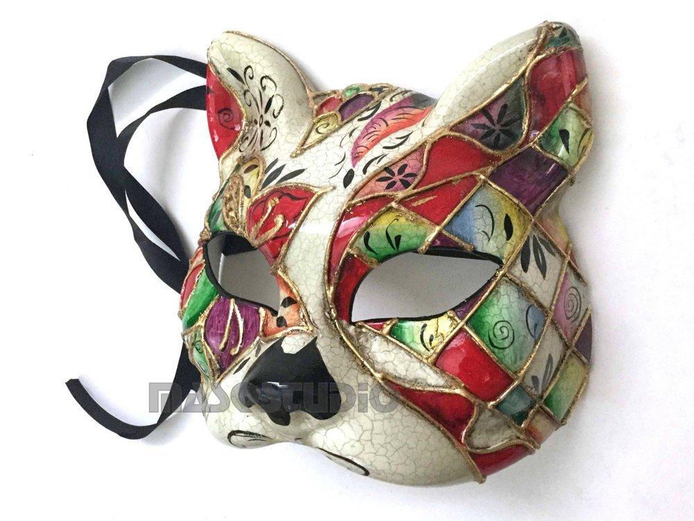ブランド新しいVenetian Cat WomanマスクホワイトブラックKittyハロウィンコスチュームドレスUpパーティーウェア 7x8 83201608260015 B075XGGL85 Red Accent Red Accent