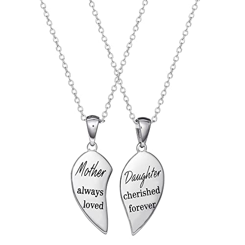 132fd4bfe Image Unavailable. Image not available for. Color: Connections from  Hallmark Stainless Steel Mother Daughter Breakaway Heart Two Piece Pendant  ...