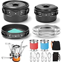 Odoland 16pcs Camping Cookware Mess Kit with Folding Camping Stove, Non-Stick Lightweight Pots Pan Set with Stainless…