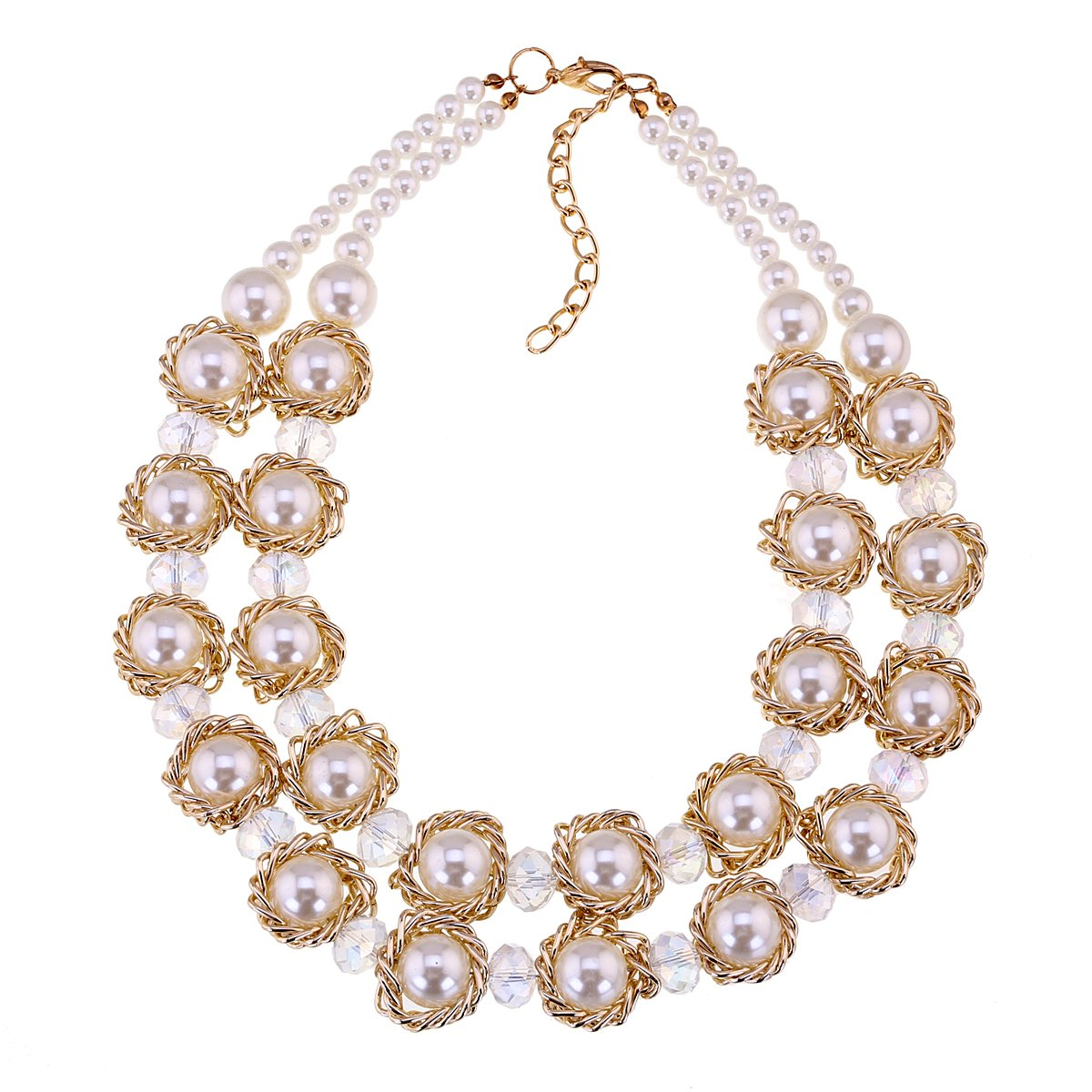 KAYMEN FASHION JEWELLERY Double Layers Strand Crystal Pearl Chokers Necklace for Prom, Women Accessory