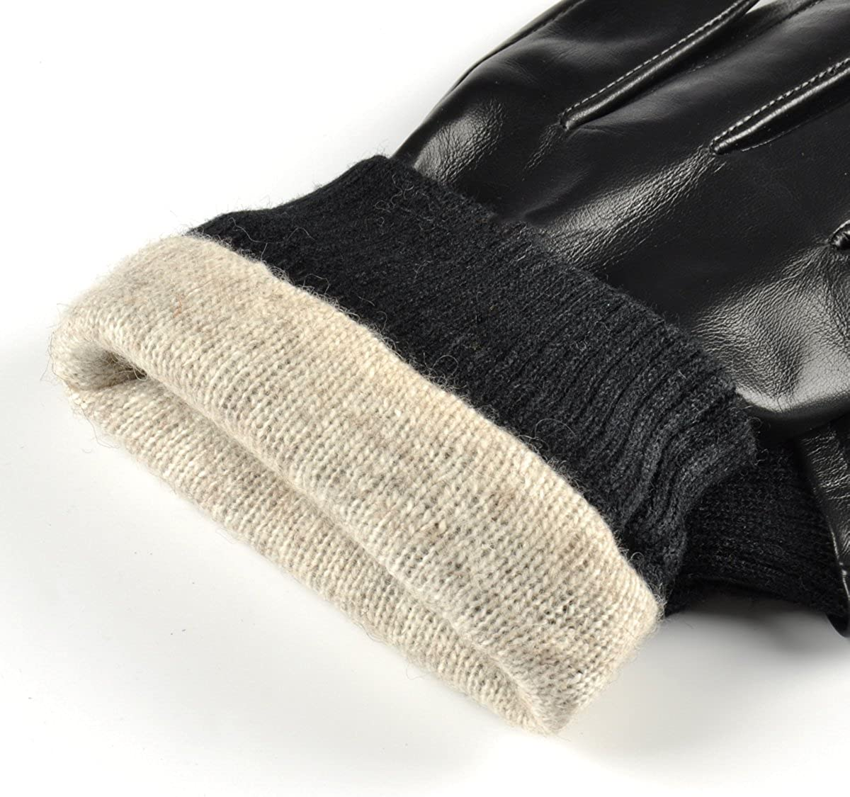 SIEFERSN Rib Cuff Mens Lambskin Whole Hands Touchscreen Gloves Winter Warm Driving Leather Gloves 1154225010
