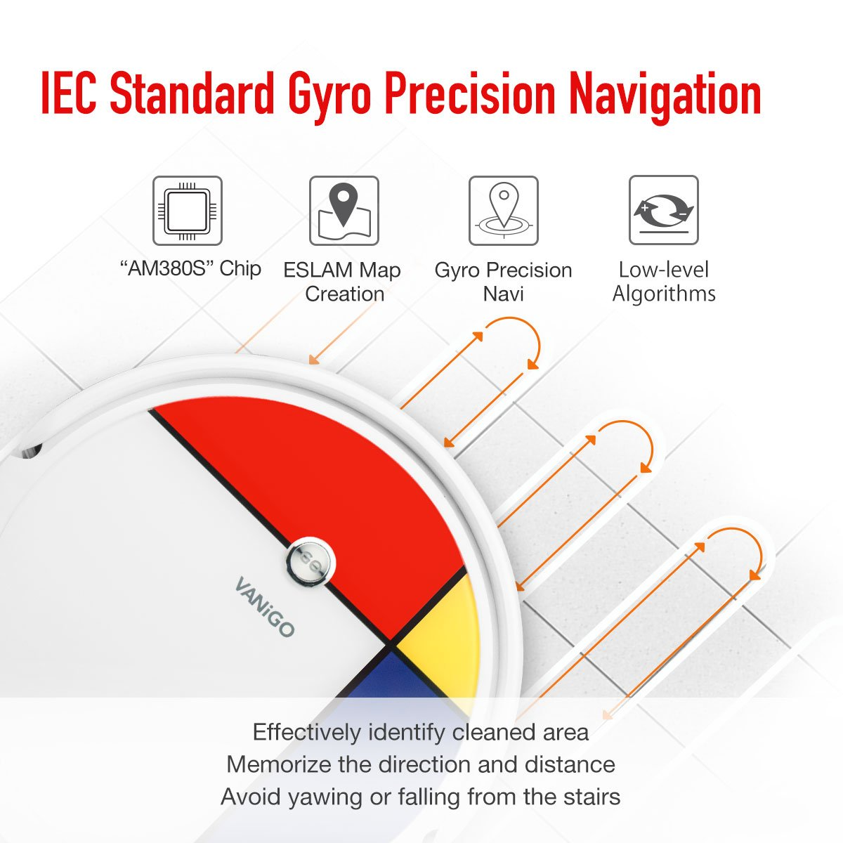 VANiGO Robot Vacuum Cleaner with Mapping Gyro Navigation, 1400PA ...