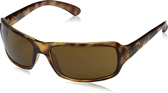 TALLA 61. Ray-Ban Polarizan gafas de sol Sport Wrap en Havana Crystal Brown RB4075 642/57 61