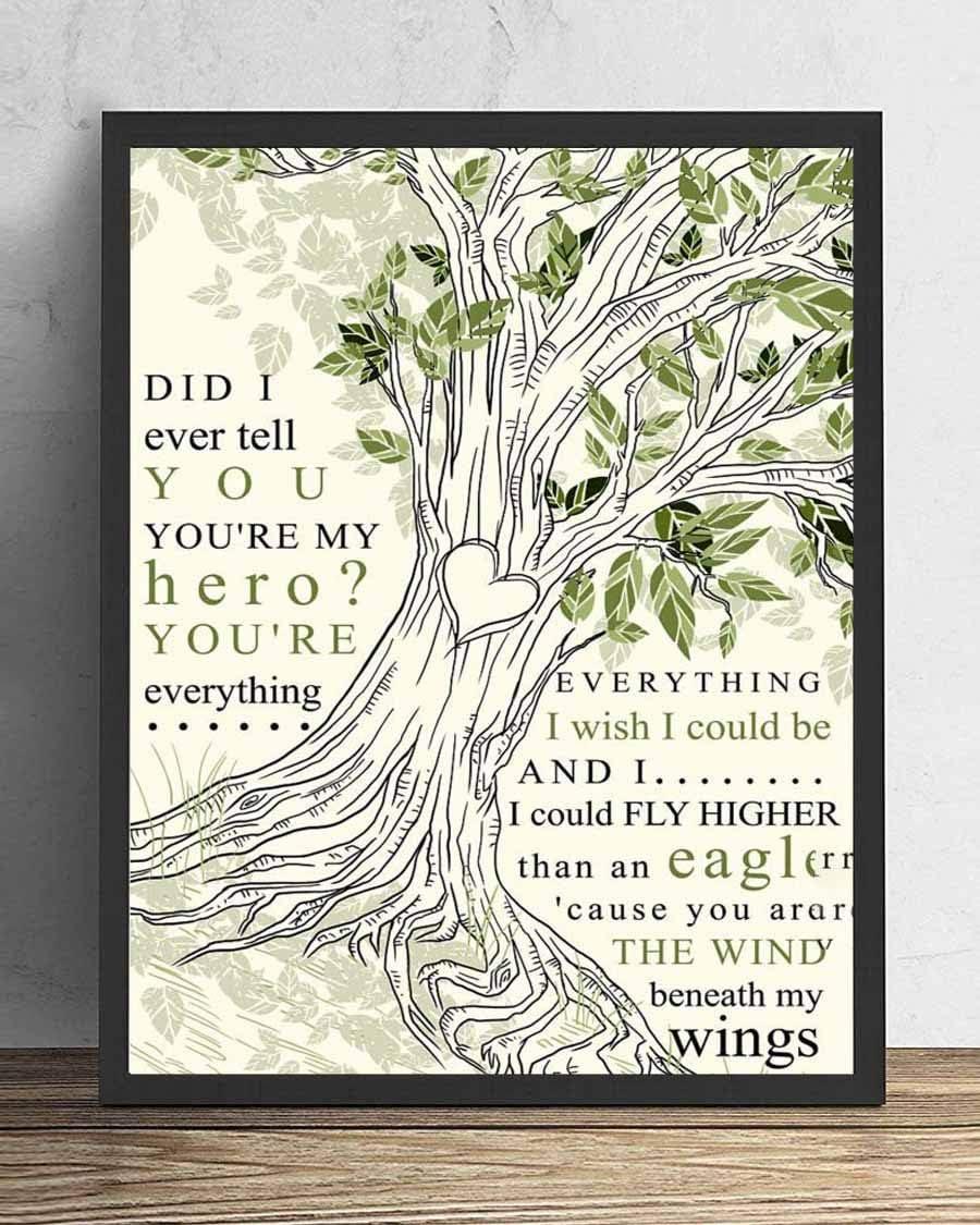 Wind Beneath My Wings Song Lyrics Tree Love Portrait Poster Print Wall Art Home Decor 14x11 in Framed