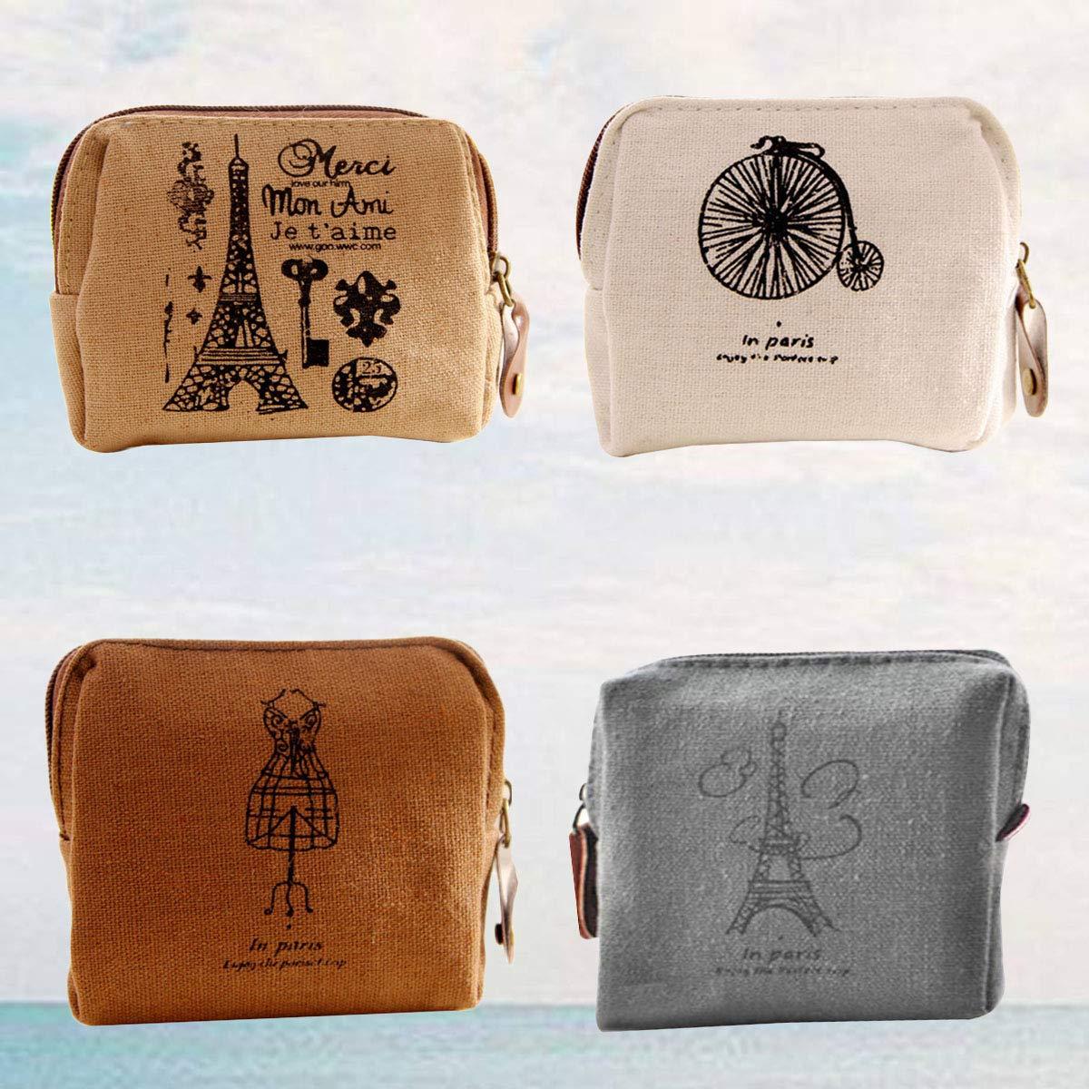 Amazon.com: Toyvian - 4 monederos de lona para mujer, estilo ...