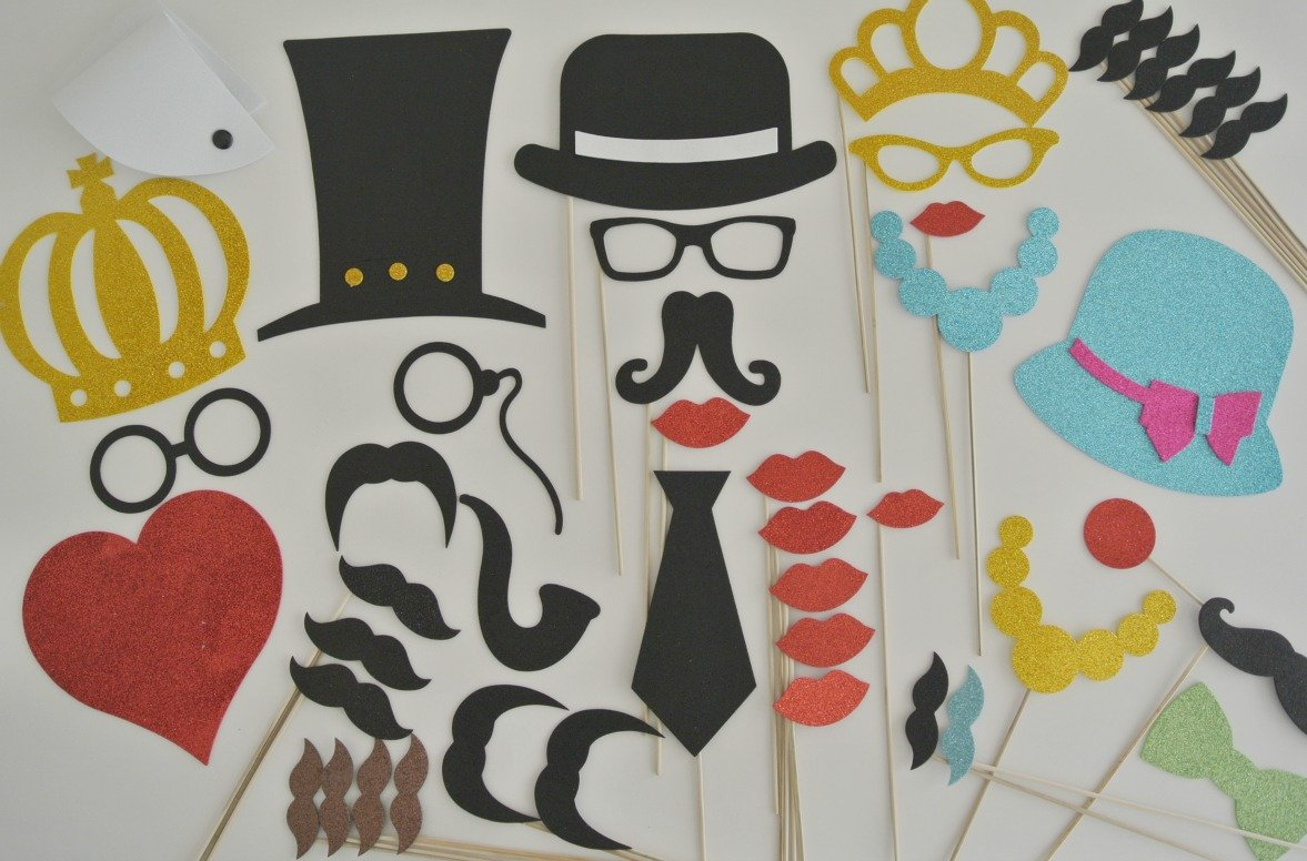 45 Pc Wedding Photo Booth Party Props Glasses Mustaches on a Stick by picwrap