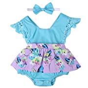 Baby Girl Clothes Floral Cotton Romper Skirt Bodysuit Jumpsuit Outfit Dress with Headband (6~12months, Sky Blue)