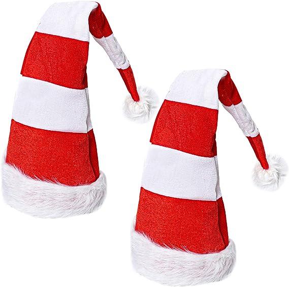 Aneco - Gorro de Papá Noel alargado con gorro de Papá Noel rojo y blanco para fiestas de Navidad: Amazon.es: Hogar