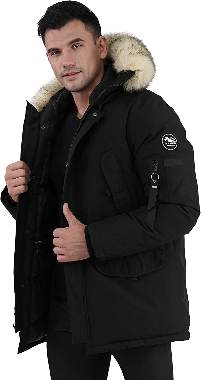 Molemsx Men's Down Alternative Jacket Mountain Thicken Lined Fur Hooded Long Anorak Parka Padded Coat XS-3XL