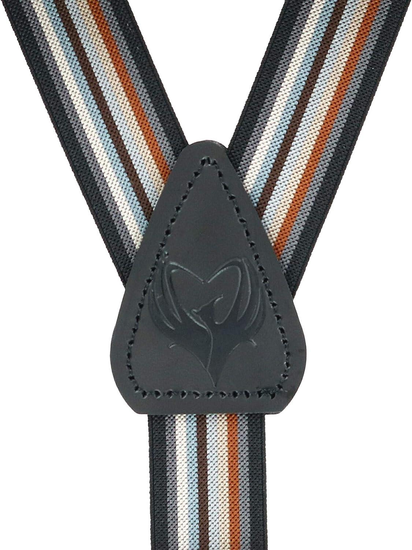 Ascentix Mens Elastic Stripe Dress Button-End Suspenders Brown