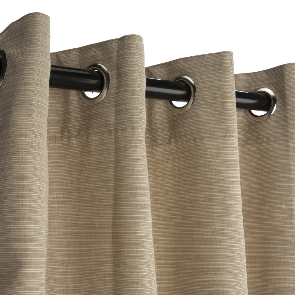 Sunbrella Outdoor Curtain with Grommets -Nickle Grommets-Dupione Sand by Sunbrella