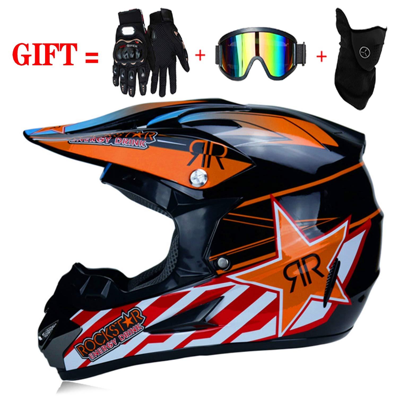 M-GLT Moto Motocross avec Casques /& Gants /& Lunettes /& Masque Casque de Karting pour Enfants Quad D.O.T Standard pour Enfants