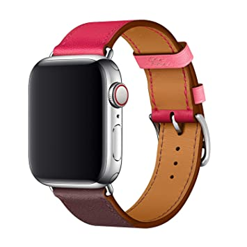 XCool para Correa Apple Watch 38mm 40mm, Cuero Rojo Rosado para Hombres Mujer para iwatch Serie 4 Serie 3 Serie 2 Serie 1
